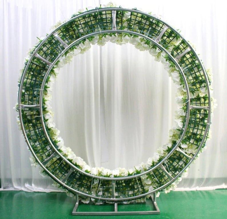 Romantic Wedding Silver Or White Round Metal Iron Flower Arch