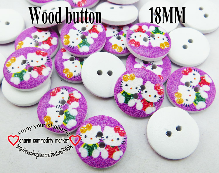 100PCS 2-Holes cat shape painting ground purple wooden buttons 18MM sewing clothes boots coat accessories MCB-814