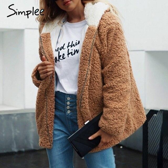 b1690c2a093 Simplee Hooded teddy bear faux fur coat women Autumn winter warm soft thick fur  jacket Female