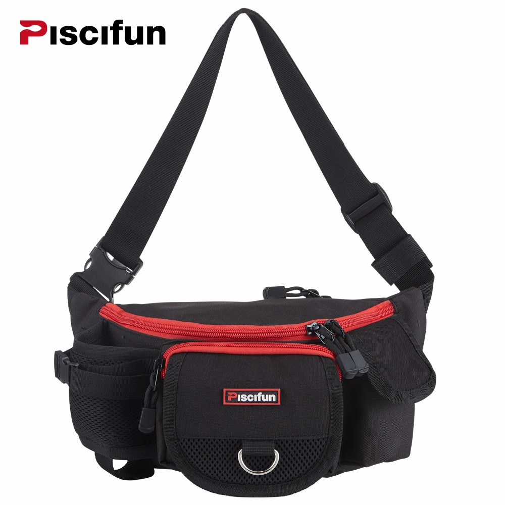 Piscifun multifunzionale impermeabile Zipper Fishing Bag Lure Waist Pack Pole Pacchetto Mulit Pocket Fishing Tackle Bag