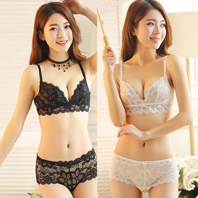 2016 sexy lace bra set foreign trade Japanese girls underwear suits White YEU