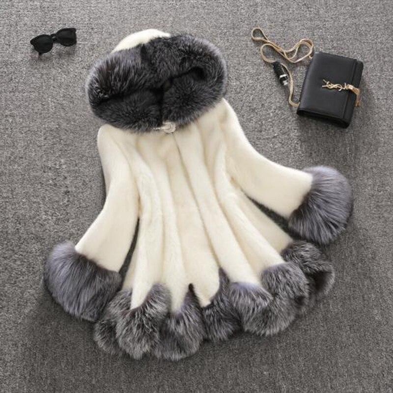 Nero Warm Finta Alta Donne Cappotti Zipper Qualità Per Inverno Pelliccia Cappuccio Faux Di Con Slim Femminile Cappotto Giacche Coniglio Moda Fur il Lu473 Bianco Le 84q4SdA6