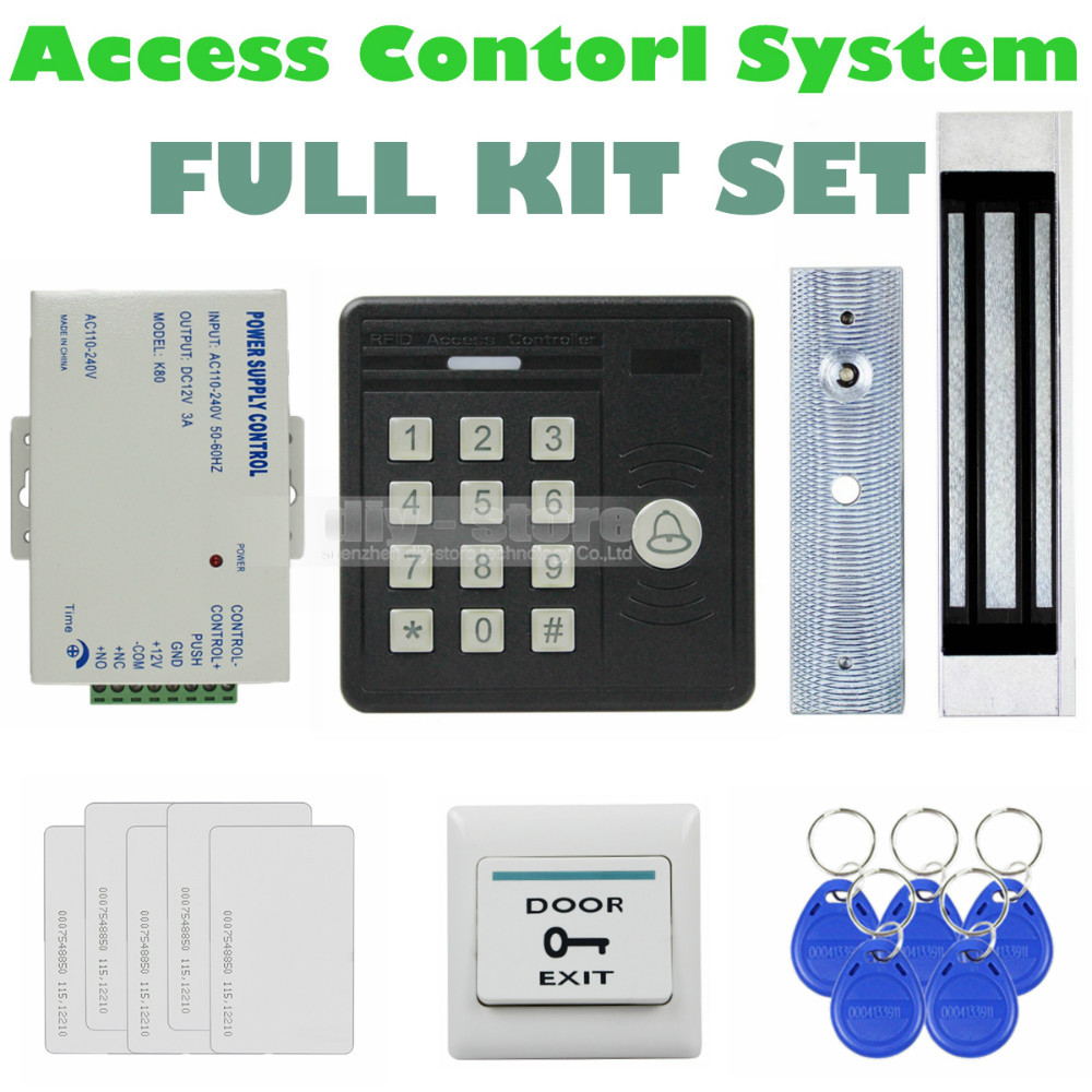 DIYSECUR Waterproof 125KHz Rfid Card Reader Password Keypad + 180kg Magnetic Lock Access Control Security Kit KS159 usb pos numeric keypad card reader white