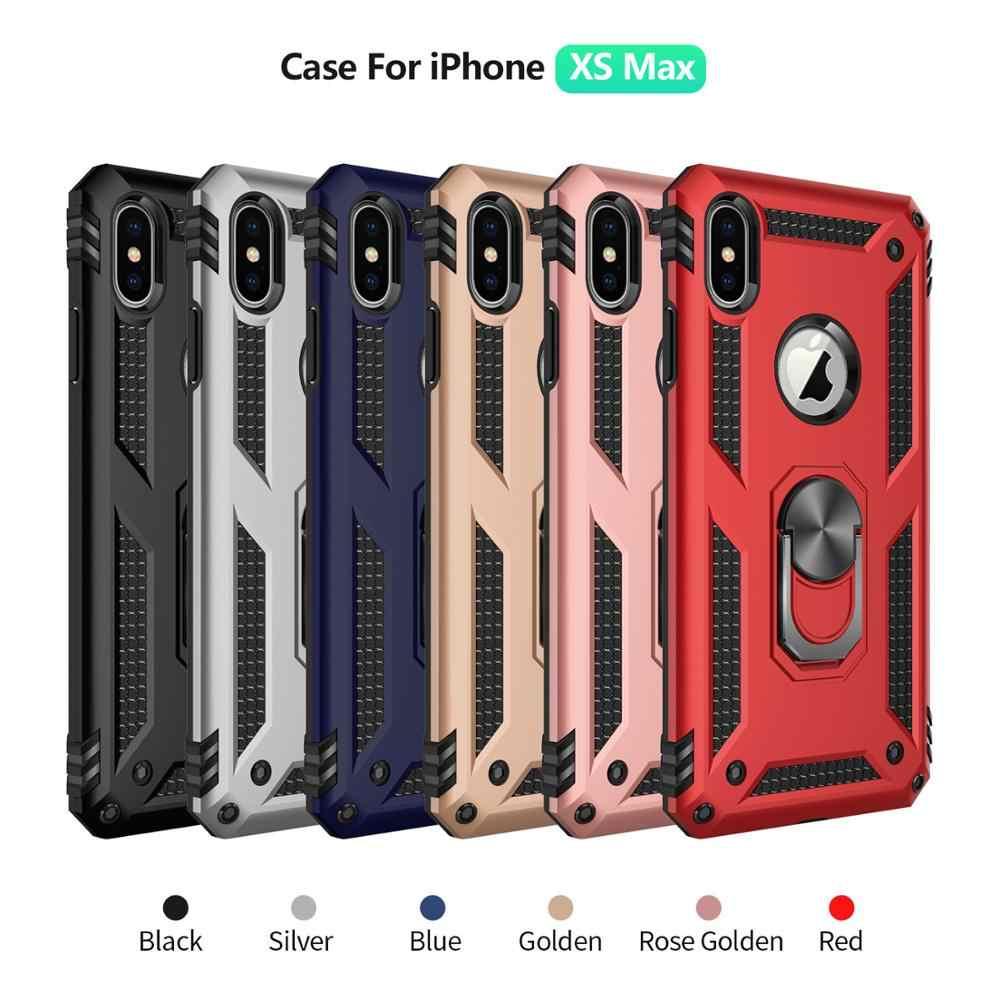 جرابات واقية مقاومة للصدمات لهواتف iPhone XS MAX XR X 6 6s 7 8 Plus 8 Plus 7Plus غطاء حلقي للأصابع مغناطيسي للسيارة