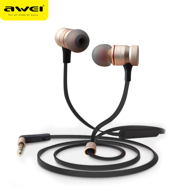 Awei ES-70TY 3.5mm Aux Audio In-Ear Earphones Metal Heavy Bass Stereo Headset With Mic Fone De Ouvido Earphone For Iphone Phone awei stereo earphones headset wireless bluetooth earphone with microphone cuffia fone de ouvido for xiaomi iphone htc samsung