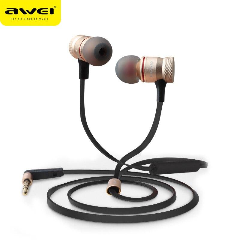 Awei ES-70TY 3.5mm Aux Audio In-Ear Écouteurs En Métal Basse Lourde stéréo Casque Avec Micro Fone De Ouvido Écouteurs Pour Iphone téléphone