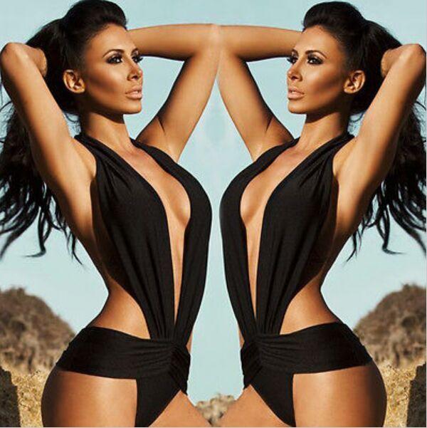 New Women Black Slim Sexy Cross Patchwork Push up Bikini Set Retro Swimsuit One Piece Swimwear Beach Bathing Suit
