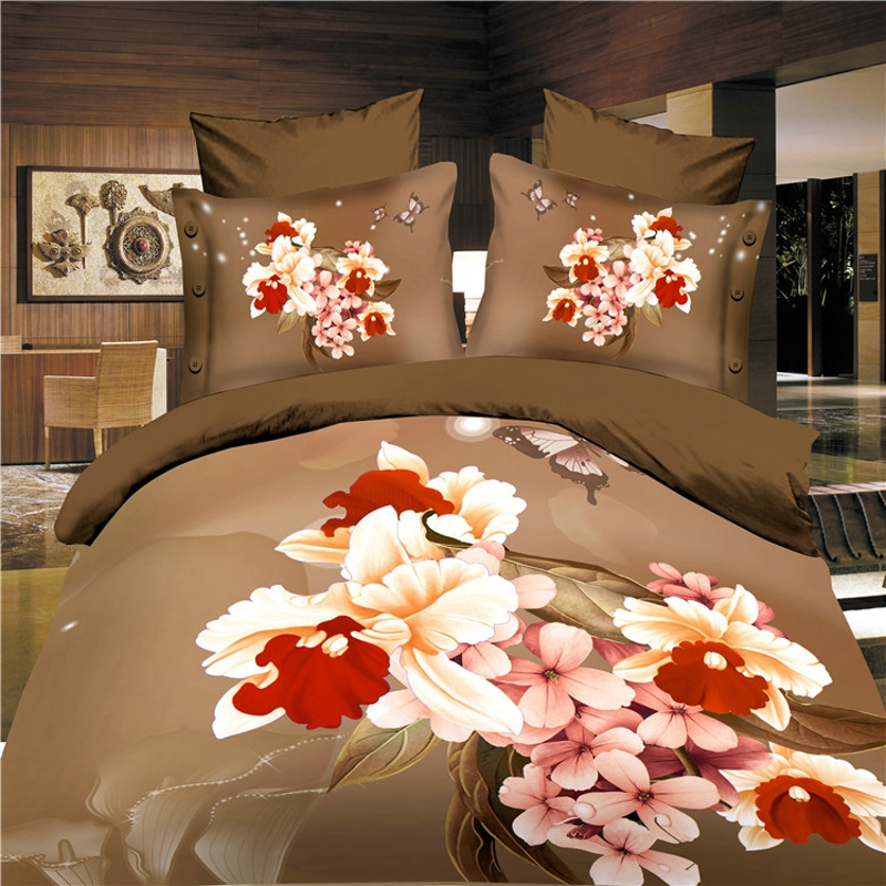reactive 3d flower cot bedding set duvet/doona cover bed sheet pillow cases 4pcs queen s ...