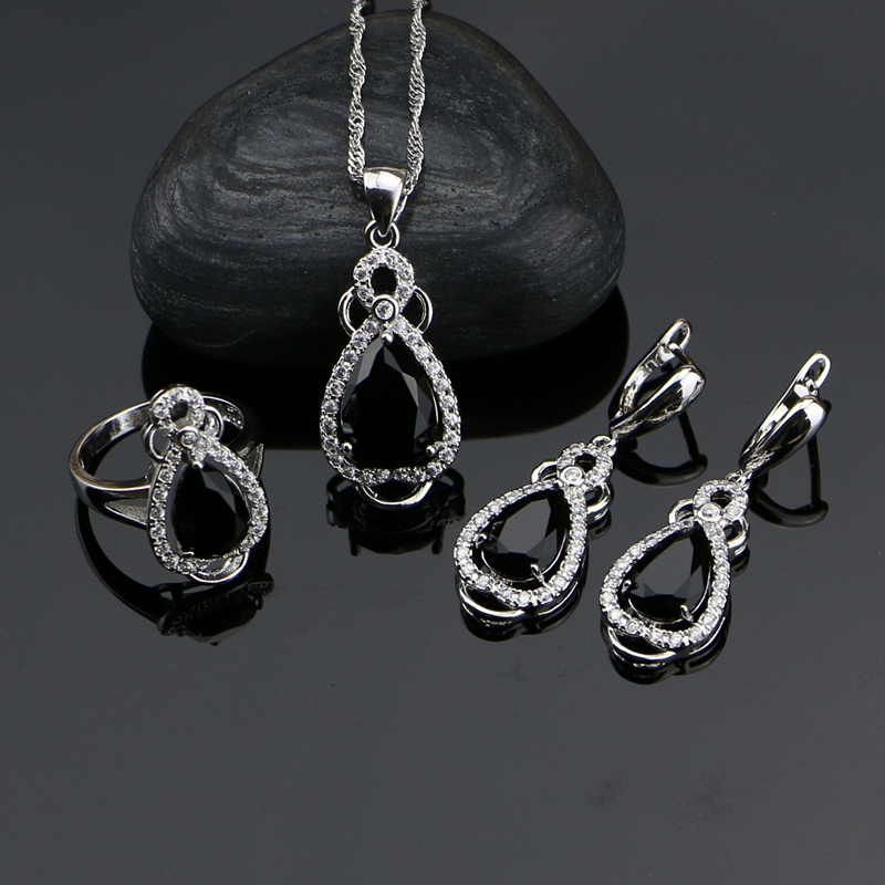 Jewelry-Sets Crystal Silver Pendant/ring/Necklace-set Cubic-Zirconia Women Punk White