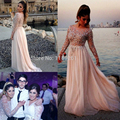 2016 Distinctive Crystal Beaded Prom Dresses Sheer Scoop Neck Long Sleeves A-Line Chiffon Evening Gowns long Prom Dress CP17