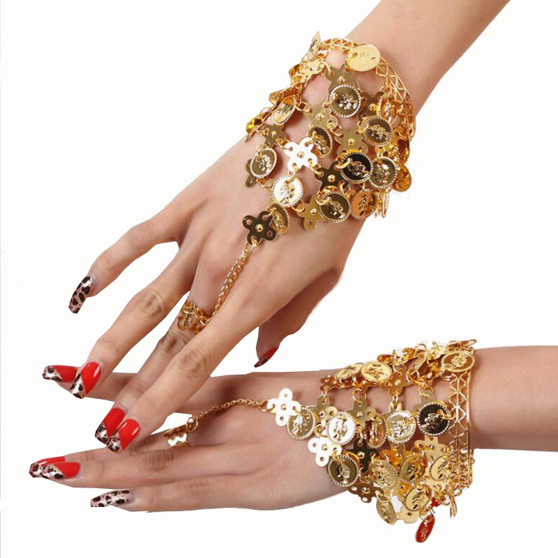 Dance Wear Bollywood Jewelry for Dance Bracelets Jewelry Set Indian Accessories (2 pieces for two hands use)