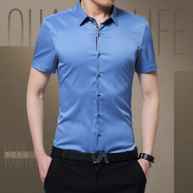 36488887c5d 1pcs Men s plus size Slim fit shirts 2019 Summer Pure silk Thin short  sleeves Casual dress shirts Men shirts overhemd tops boys