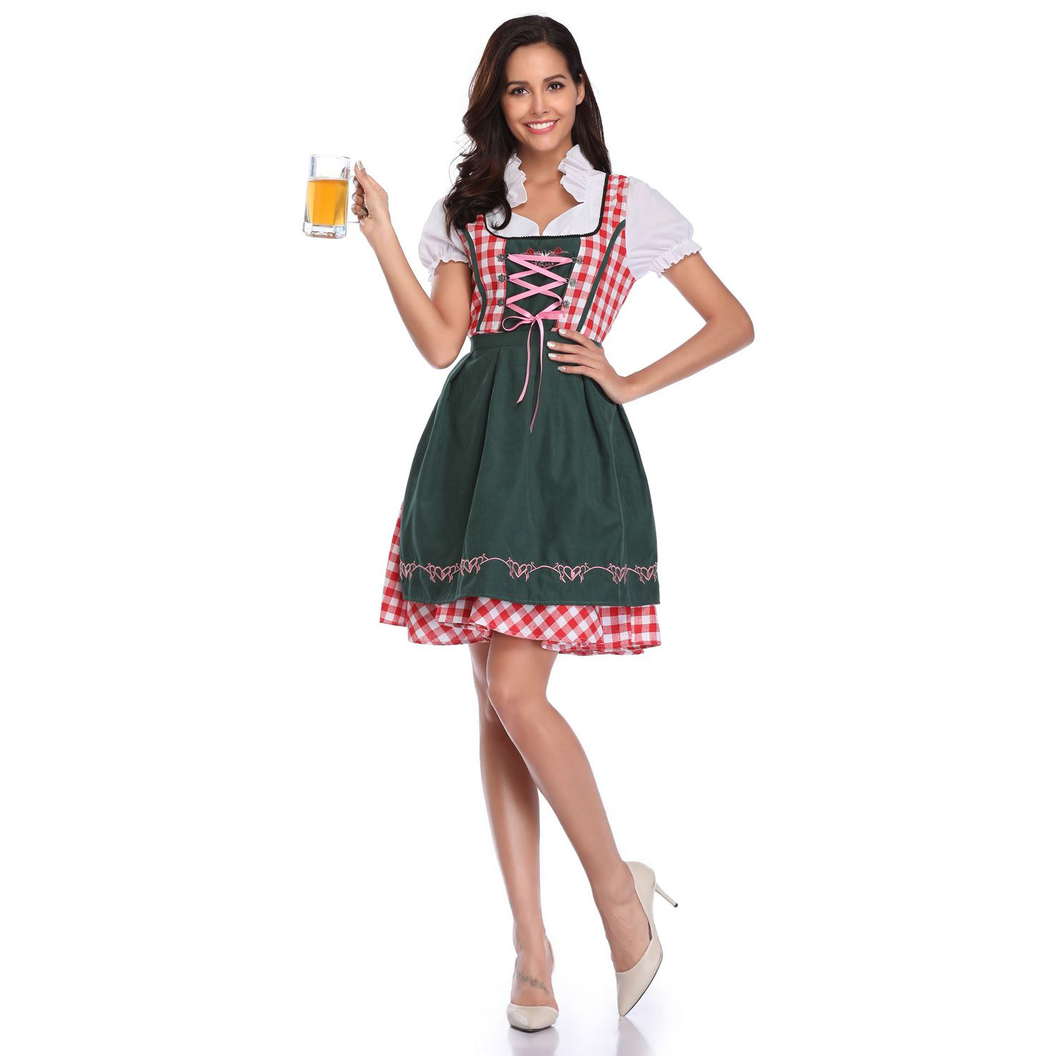 UTMEON S-XXL Sexy Costume Maid Wench Bavarian Fancy Dress Dirndl For Adult Women Beer Girl Oktoberfest Costume