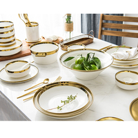 Free shipping Gold Inlay Solid White Ceramic Plates Food Dishes Dinnerware set white gold dinner plate
