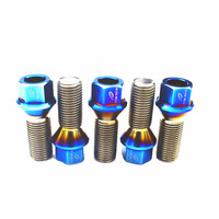 Titanium Bolts High strength Titanium Alloy Wheel Bolts for Car Lightweight Modification M14*28 Pitch1.5mm Baked Blue Color 20 p Bolts     -