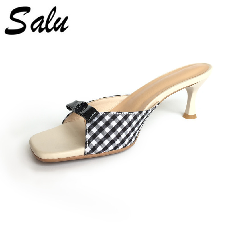 Salu Women Sandals High Heel bow tie genuine leather Women Shoes black red Ladies Wedding Shoes Size 34-39 maison jules new red women s size xs striped shimmer tie back blouse $49 091