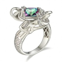 choucong Jewelry Fashion cute Mermaid ring cushion cut 8mm Black Birthstone Cz 925 Sterling Silver Filled Wedding Ring for Women
