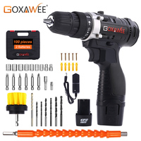 GOXAWEE 12V Two Speed Electric Screwdriver Cordless Drill Mini Wireless Power Driver DC Lithium Ion Battery With Carry Case