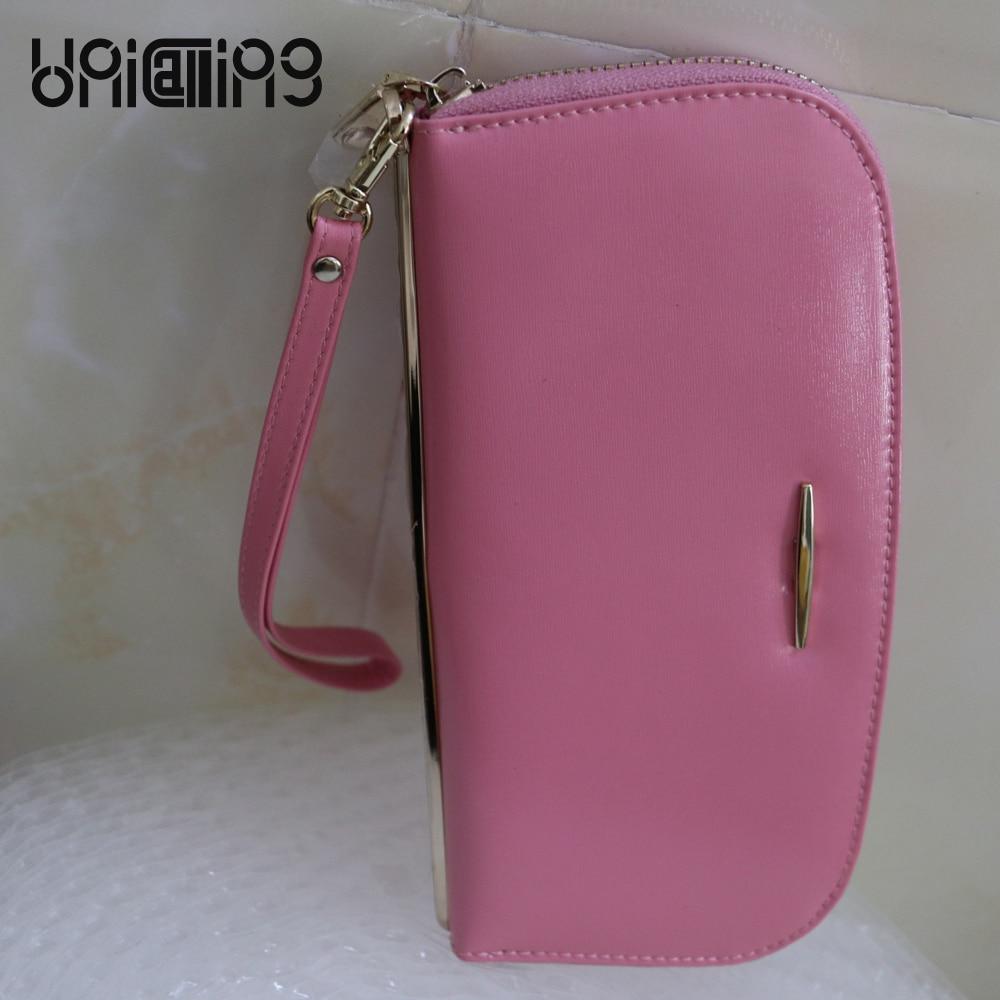 UniCalling New style Genuine Leather women long wallet Fashion solid color wallet women zipper Card holder mini women wallets