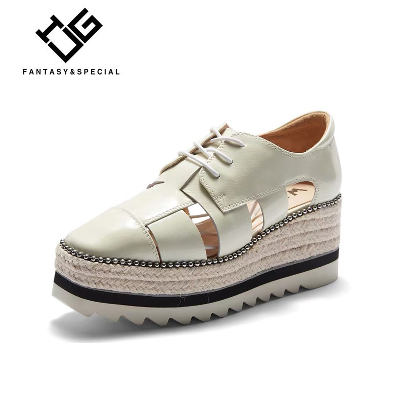 IGU Women Casual Shoes High Street Thick Bottom Genuine Leather Shoes For Lady Hollow Beaded Breathable White Mocasines MujerIGU Women Casual Shoes High Street Thick Bottom Genuine Leather Shoes For Lady Hollow Beaded Breathable White Mocasines Mujer