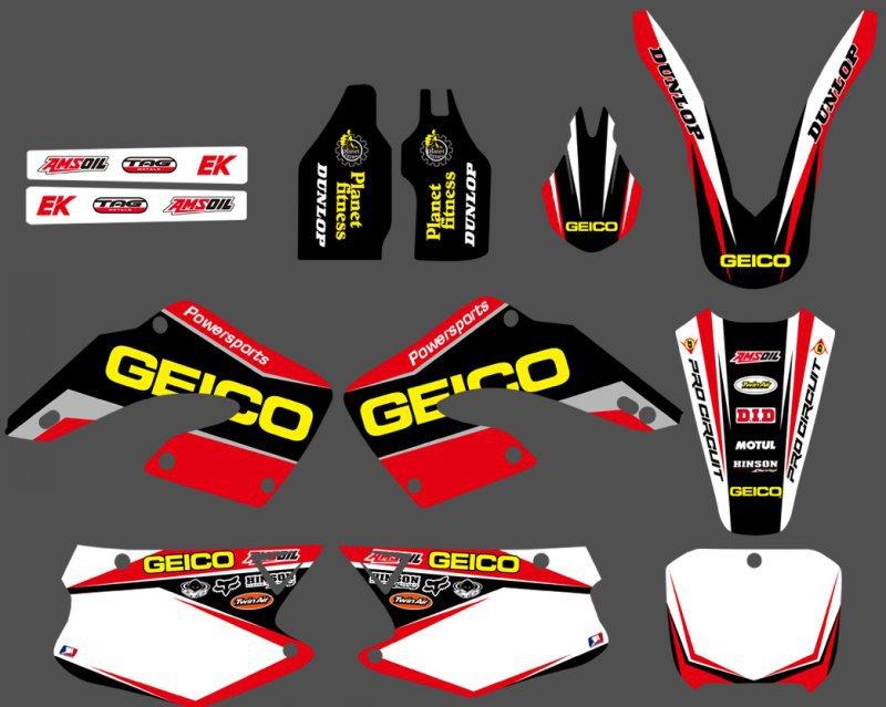 0177 NEW STYLE TEAM DECALS STICKERS GraphicS For Honda CR125 CR250 2000 2001 CR 125 250 стоимость