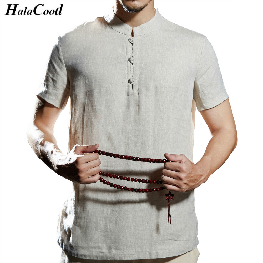 Mr Chinese Style Tang Suit Short Sleeve Tops Men's Linen Tees Funny T shirts Men Summer Fashion  Casual Short Sleeve Cotton Tops