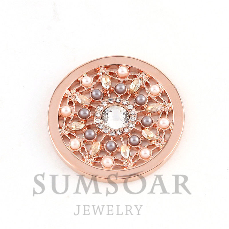 Somsoar Jewelry 33MM Rosario Peach Disc Coin Fit For 35MM My Coin Holder Frame Pendant 5pcs/lot
