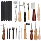 DIY Leather Craft Tools Set,Handmade Hole Punch,Stitching Sewing Cutting Tool Thread Awl Waxed Thimble Stamping Skiving Kit