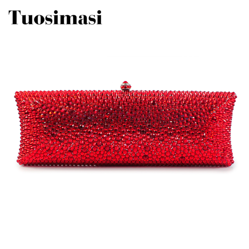 Red Color Clutch Evening Bag Newest pattern evening bags clutch handbags Cute bridal crystal party rhinestone evening(B1008-BSR) free shipping new tassel rhinestone evening bag clutch bag super cute mini sachet 7247 02