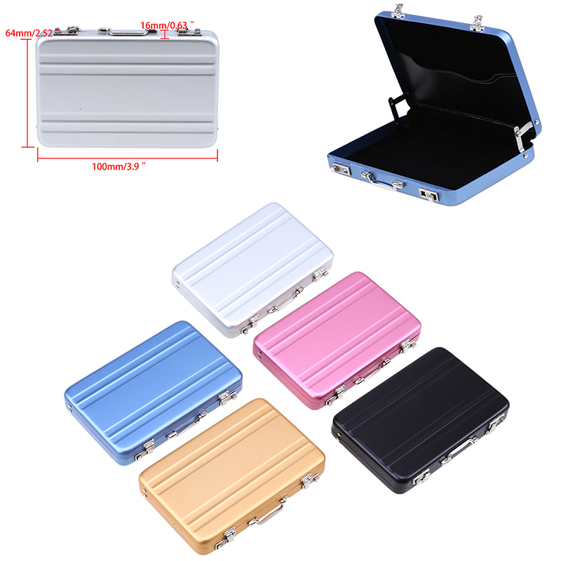 WHISM Business Card Storage Box Mini Aluminium Rectangle Briefcase ...