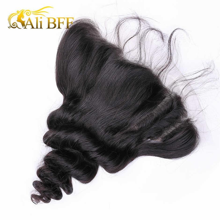 ALI BFF 13x4 onda suelta Pre desplumado encaje cierre Frontal con pelo de bebé oreja a oreja nudos blanqueados tejido de cabello humano Remy 100%