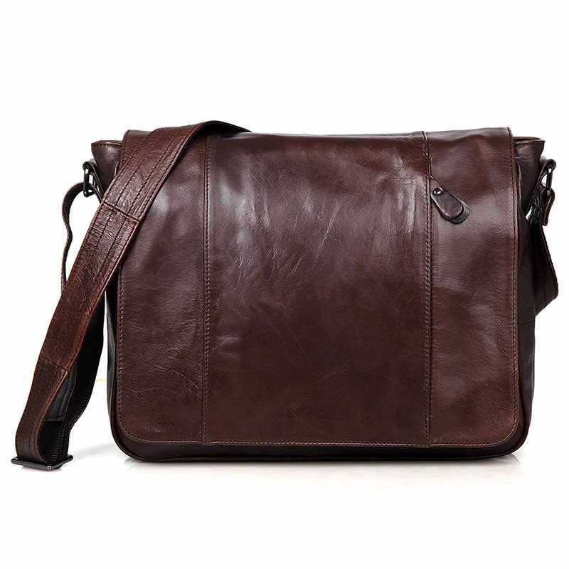 fcec2825f3f2 Nesitu Винтаж 100% гарантия Настоящее кожи натуральной воловьей кожи Для  мужчин Курьерские сумки # M7338