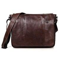 Vintage 100 Guarantee Real Skin Genuine Leather Cowhide Men Messenger Bags M7338