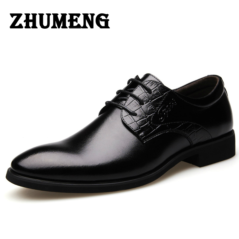 2017 Fashion Italian Luxury Mens Dress Shoes Oxford Black Brown 2016 Vintage Genuine Leather Men Shoes Flats Wedding Office Man 2017 fashion italian luxury dress mens shoes genuine leather black brown design flats for men business ol shoes brand oxford