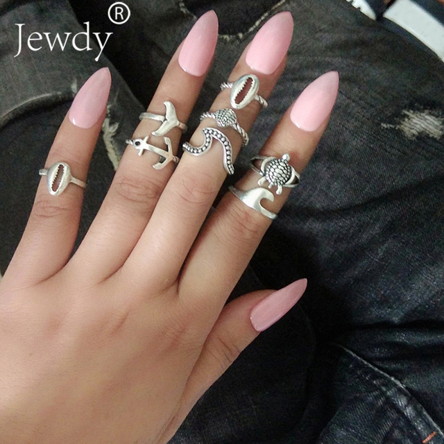 Jewdy 8 Pcs/Lot Boho Vintage Shell Mermaid Turtles Knuckle Ring Set For Women Anchor Crown Midi Rings Fashion Party Gift by Jewdy