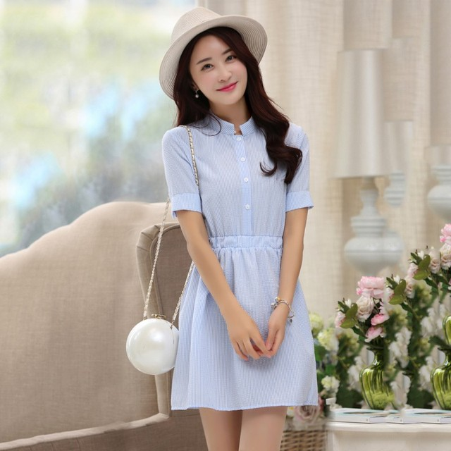 2b121f1178266 2018 Fashion Shirt Dress Women Summer Dress Striped Korean Short Sleeve  White And Blue Striped Linen