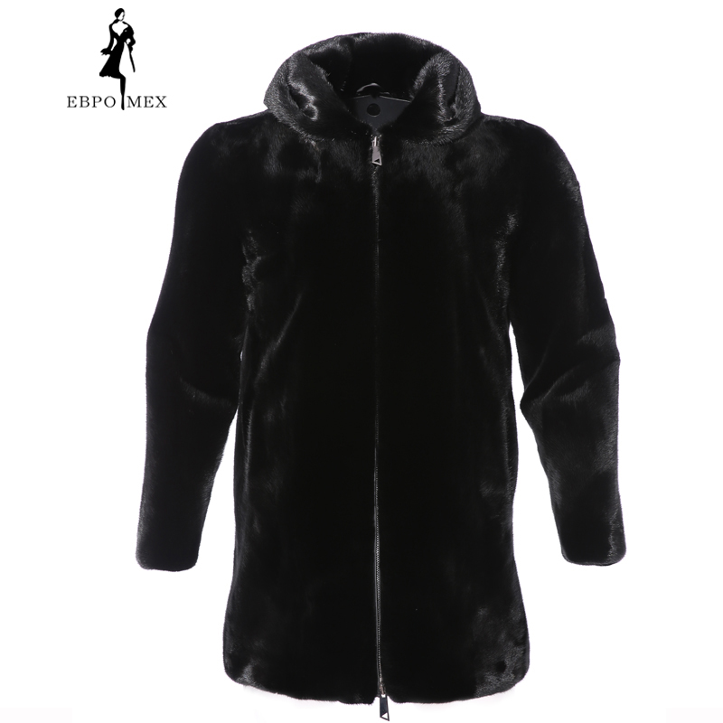 Jacket Coat Hood-Fur-Coat Thick Winter Male Black Solid Long Mink-Fur High-Grade New-Fashion