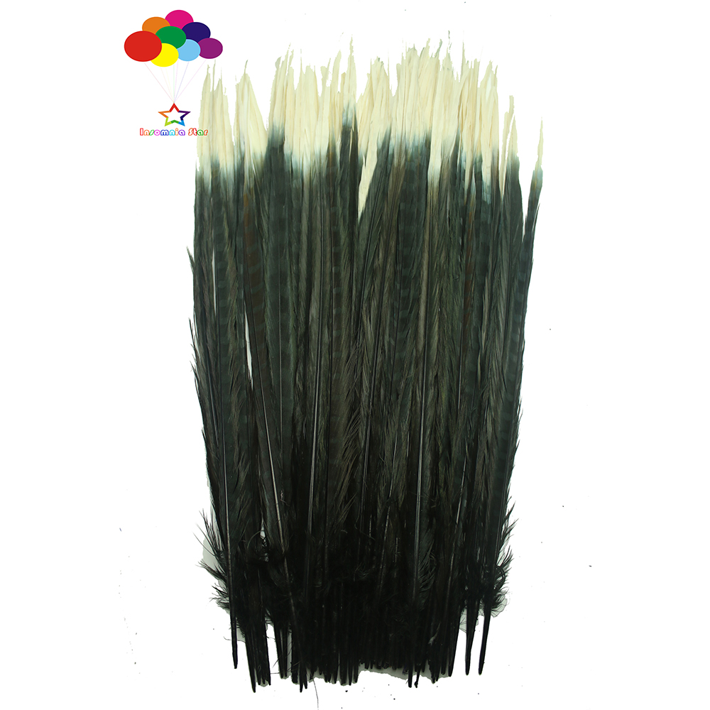 100pcs 100% natural premium pheasant feather tail tip 40-45cm/16-18inch black and white for Diy costume mask headdress100pcs 100% natural premium pheasant feather tail tip 40-45cm/16-18inch black and white for Diy costume mask headdress