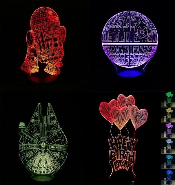 2018 Cartoon 3D LED Lamp Millennium Falcon R2D2 Star Wars Amercian Captain  Iron Man Multicolor Night