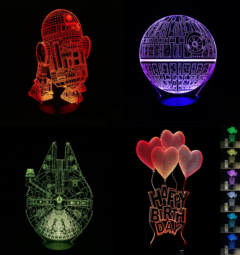 2018 Cartoon 3D Led-lampe Millennium Falcon R2D2 Star Wars Amercian Kapitän Iron Man Multicolor nachtlicht luminaria Beleuchtung