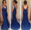 Hot Sexy V Neck Lace Sheer sereia azul Prom vestidos de aberto vestidos de Gala vestido