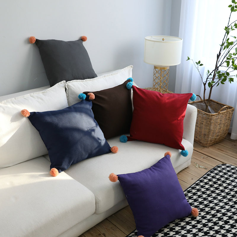 Table & Sofa Linens Ins Nordic Style Cushion Pillow Cover With Plush Ball Cotton Pompon Throw Pillowcase Waist Pillow Covers Sofa Home Decor 45x45cm Pretty And Colorful Home Textile