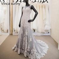 Glormous Lace Appliques Mermaid Gray Wedding Dresses 2018 Scoop Corset Dress For Bride Vestido de noiva Custom Made Backless