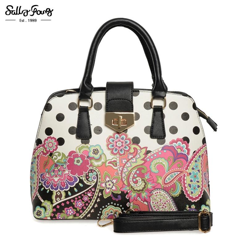 2017 Sally Young International Brand Luxury Handbags Women Bags Top Quality Fl Las Fashion Dots Designer