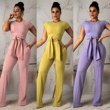 Casual Tie Up Short Sleeve Solid Color Pocket Pants Two Piece Sets Vintage Tracksuit Outfit