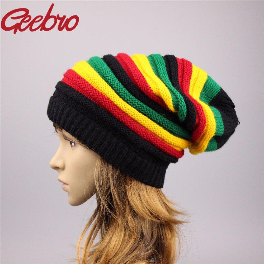 Geebro Women s Beanie Hat Female Jamaican Fashion Winter Two Knitted Hat  Women Lovely Beanies   Skullies Girl Cap Bonnet JS266-in Skullies   Beanies  from ... d8a11b402e5
