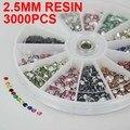 3000 unids Nail Art Sticker Decoración Rhinestones de la Resina Nail Art Piedras Rueda Presentado Con 2.5mm En 12 Colores X250pcs envío Gratis