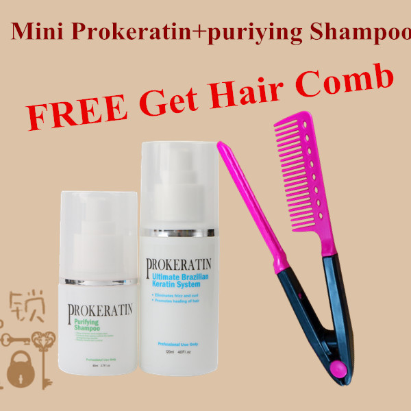 mini 120ml keratin hair treatment and puriying shampoo get free hair comb as a gift Straighten hair and care hair DIY at home best new product on sale 30% 750ml brazilian keratin hair treatment hair free shipping