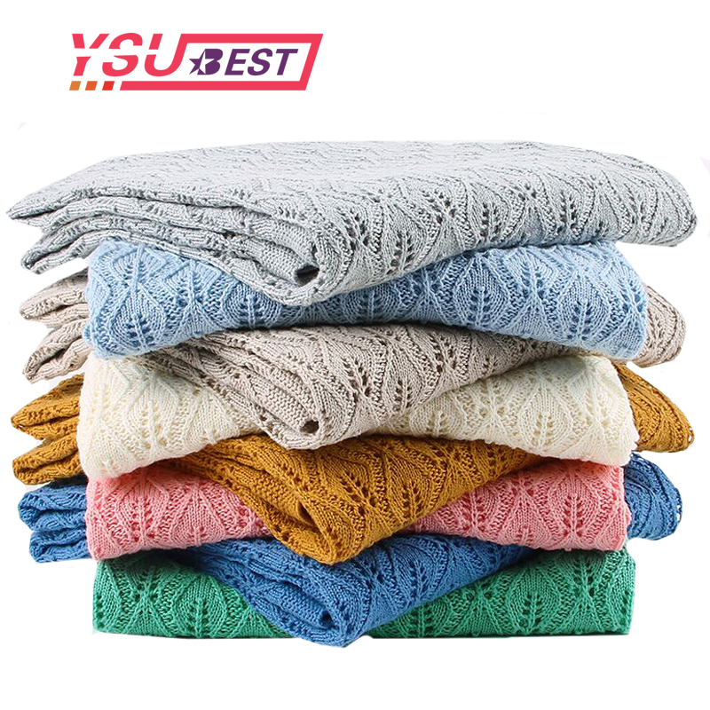 High Quality Children's Knitted Blanket Newborn Super Soft Warm Infant Woolen Blanket For Boys Girls Kids 100*80cm For Crib Bed