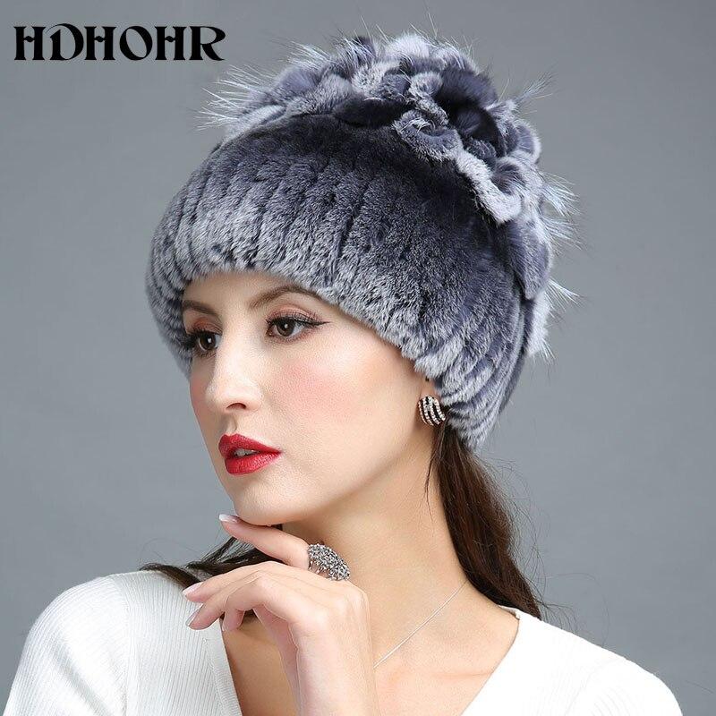 HDHOHR 2017 Nuevo invierno cálido sombrero de piel real para mujer - Accesorios para la ropa - foto 1